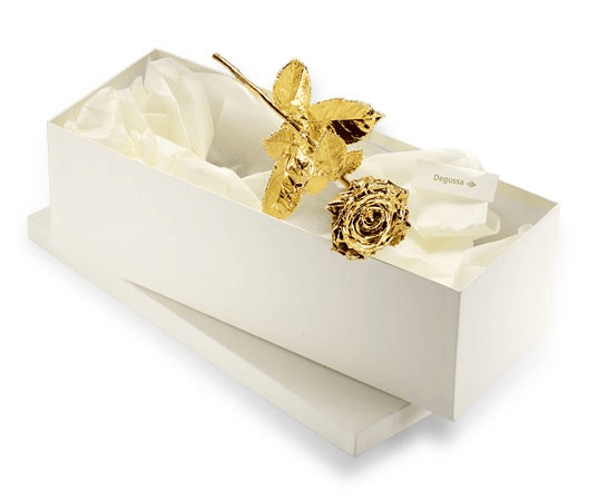 vergoldete rose degusa geschenkkarton